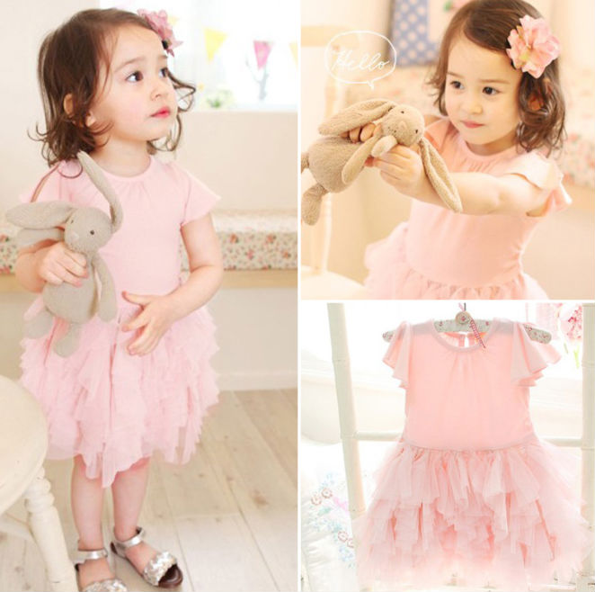 FANCY WONDERFUL SOLID COLOR PNK GIRLS LACE DRESS
