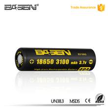 Basen 18650 battery Basen BS186Q 18650 3.7V 3100mAh 40A li-ion rechargeable battery