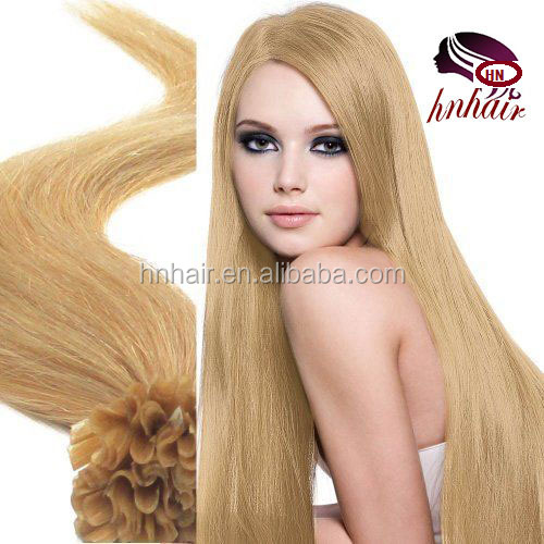 "Wholesale China Hair Factory 100S 18"" Nail tip hair remy Human Hair Extensions #<strong>24</strong> Natural Blonde 0.5g/strand"