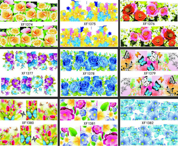 New 2014 Nail Art Flower Water Transfer Sticker Nails Wraps Foil Polish Decals Temporary Tattoos Watermark