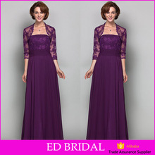 Elegant Strapless Purple Lace Chiffon Long Mother Of The Bride Dress With Jacket