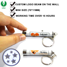 Promotional Mini Keyring Led Logo Projector Torch Keychain