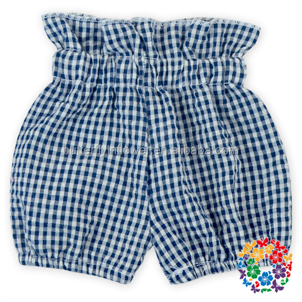 wholesale black white plaid designs newborn baby clothing waisted kids summer shorts floral cotton bubble shorts
