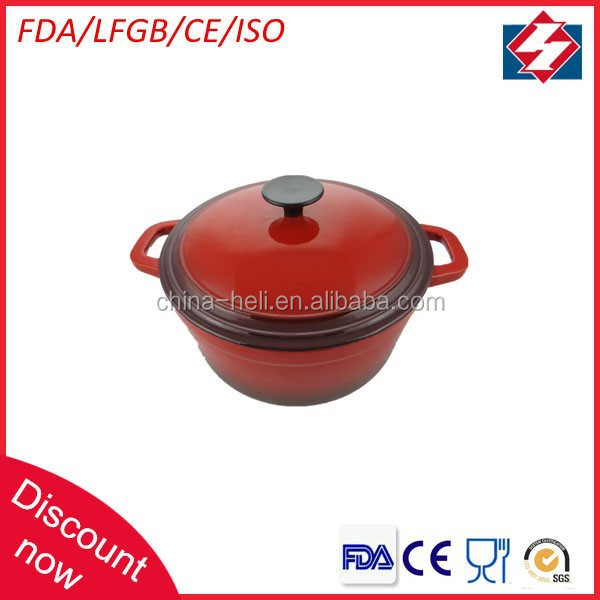 Best selling round cast iron kitchware porcelain