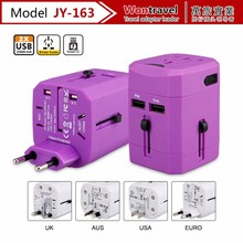 US EU AU UK Plug Universal Adapter 5V2.5A dual USB travel charger for mobile phone/tablet