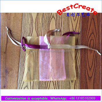 Custom High Quality multi colors organza gift packaging bags with wide ribbon