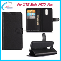 Hot selling Litchi pu leather wallet case for ZTE Blade A610 plus flip cover case