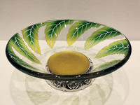 High-class Art Round Shape Green Leaves Decorated glass fruit Plate with Base F-B14D