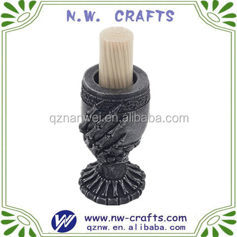 Polyresin halloween skeleton cup wood toothpick holder resin craft