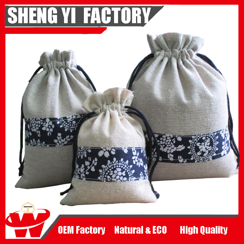 Best sale cheap linen Drawstring Bags, Linen Drawstring Pouch with flower