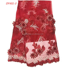 French Red Beaded Lace Fabric African Lace Fabrics Peruvian Lace Fabric For African Women Clothes DF401-3