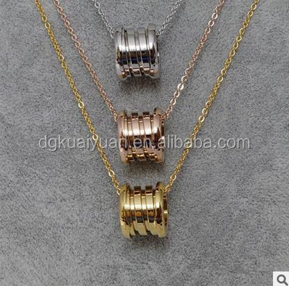 2016 hot selling Stainless Steel Elastic Multiwall spring Pendants Necklaces, Gold/Rose gold/Silver Colors Women/Men Chain bijou