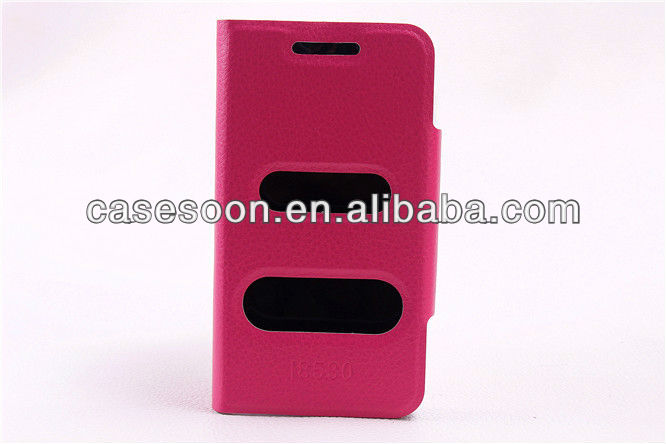 Lychee PU Leather case for Samsung I8530 Galaxy Beam With Stand
