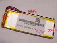 best battery brand 3.7V lithium polymer battery 305070305070 Onda MP4 MP5 GPS eBook 1200MAH