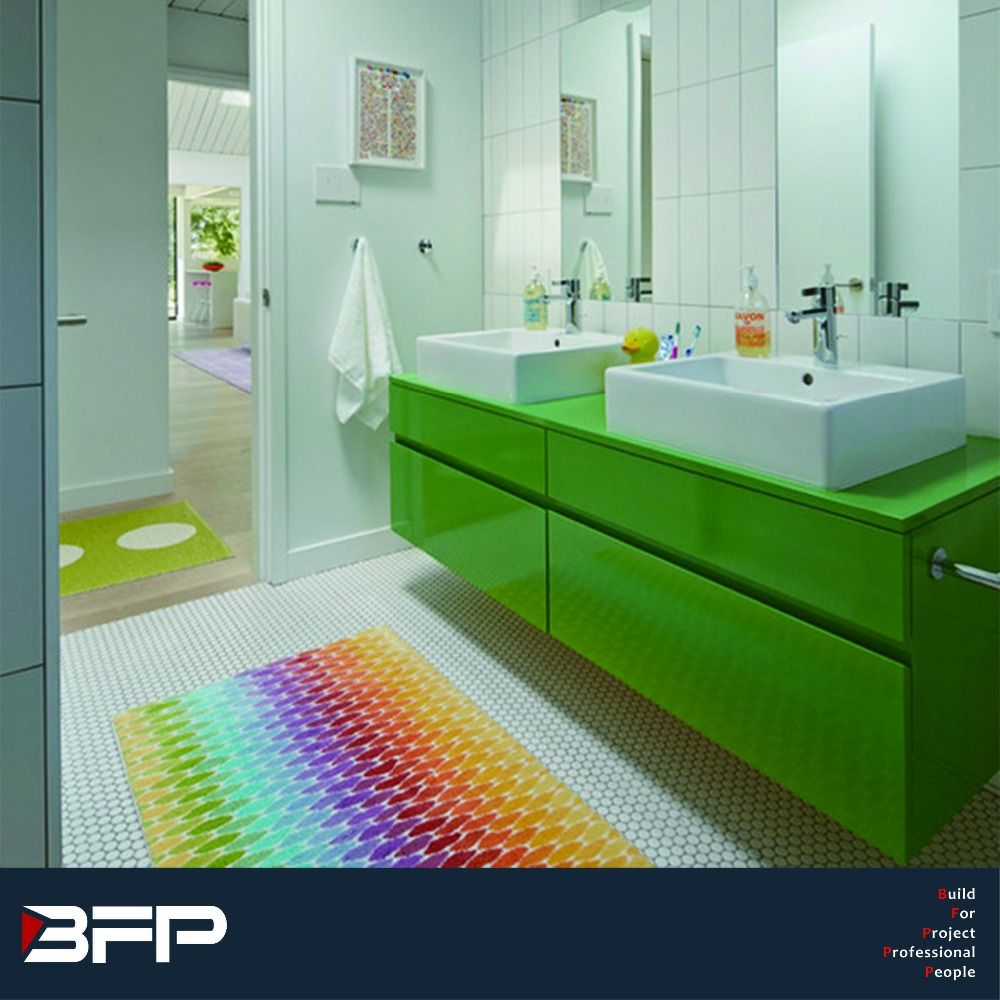 Fair price with bright color double sink lacquer vanity for customized