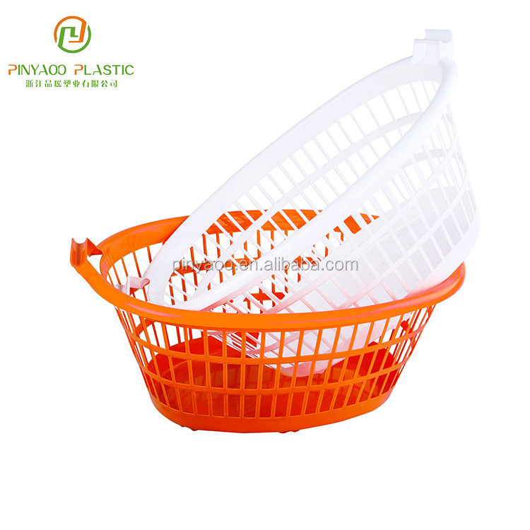New design oragen white PP material stackable 34L plastic laundry basket