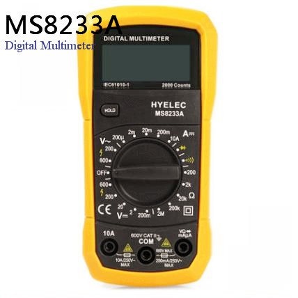 PEAKMETER MS8233A Multifunctional Digital Multimeter Current / AC DC Voltage Resistance Temperature Tester