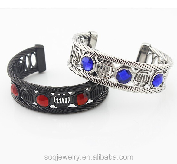 Stainless Steel Silver and Black Hollow Crown Wire Bangle with Stone for Women Crystal Jewelry