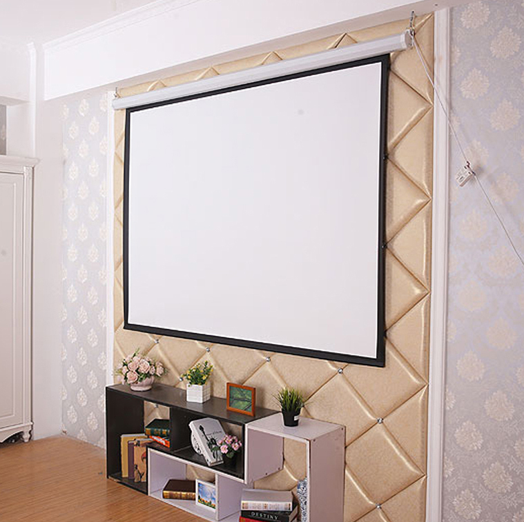 4:3 white plastic Electric projection screen 84/100/120/150inch