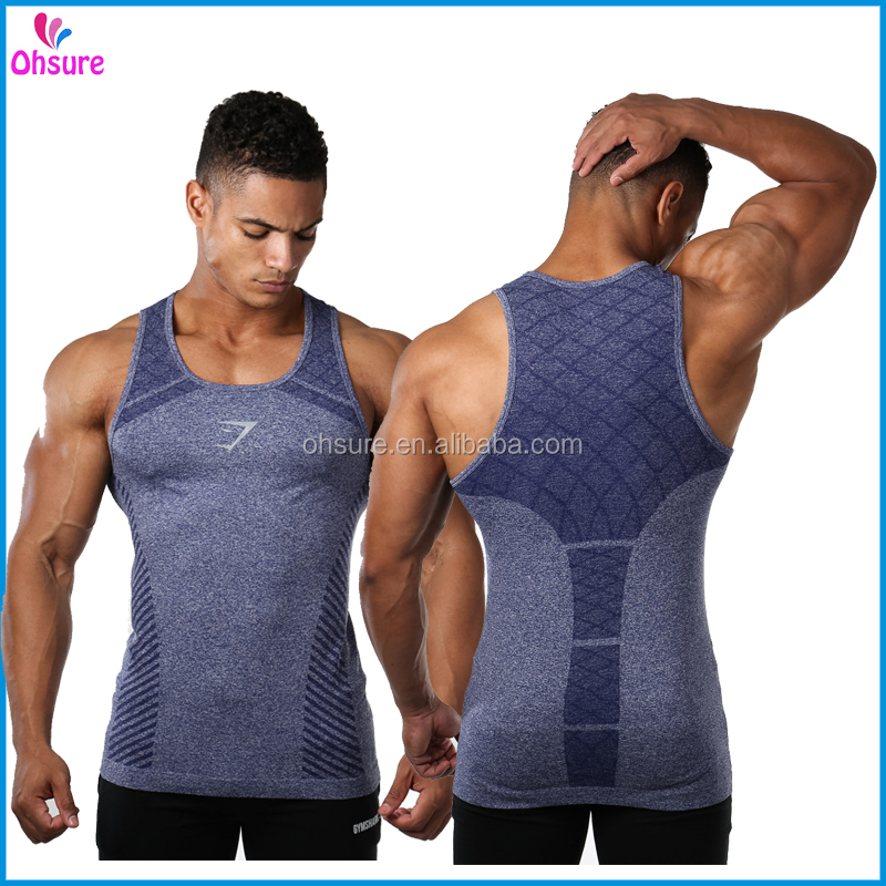 nylon/spandex slim fit running vest mens gym singlet custom seamless gym tank top