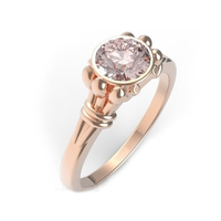 SJVR127 Floral Radiant Round Brilliant Cut Rose Gold Cubic Zirconia Bezel Setting Jewelry Ring Women Brass Bridal Wedding Ring