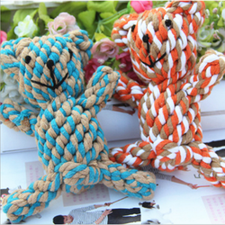 Dog Toys Handmade Knitted Pet Cotton Rope Bear 15cm Cat Toy Pet Dog Toy