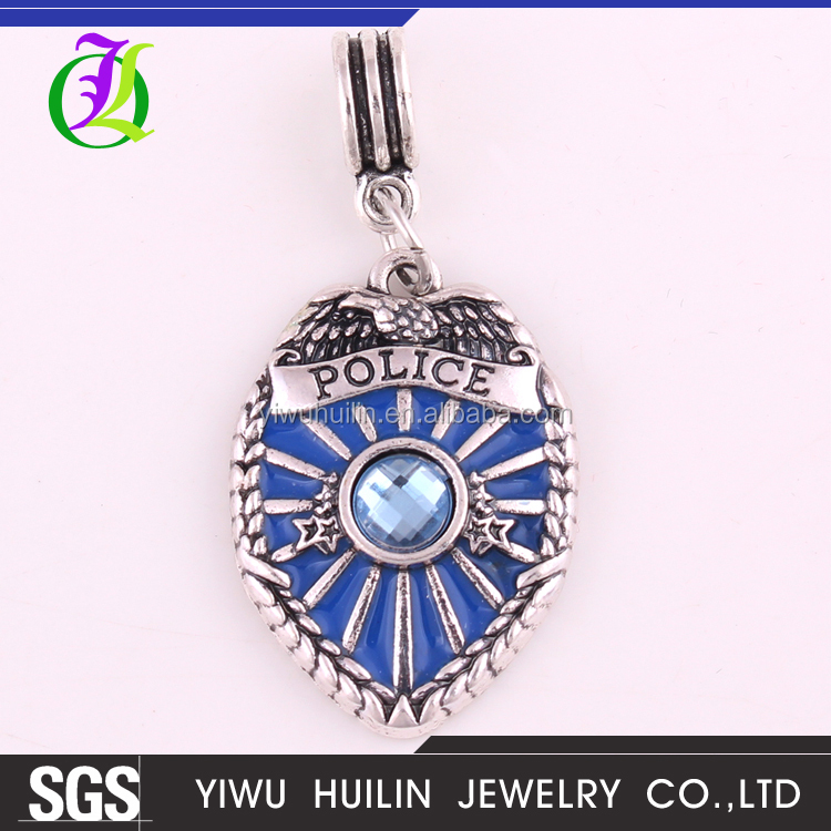 IMG 2437 Yiwu Huilin Jewelry wholesale fashion Blue policemen badges crystal Charm Bracelet DIY pendant