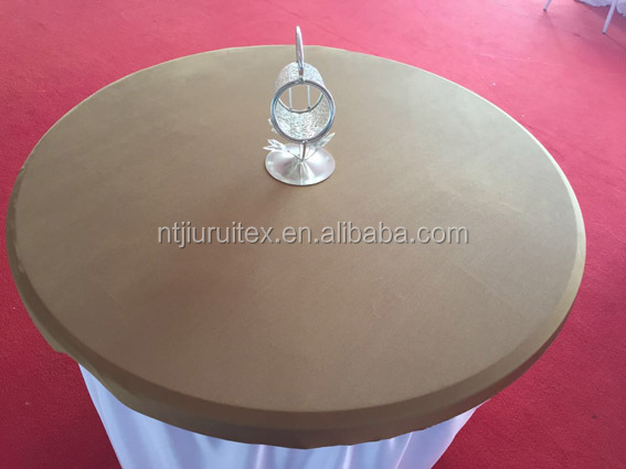 "spandex lycra shiny cocktail round table top cover 34"" diameter with full elastic overlay for the cocktail table cover"