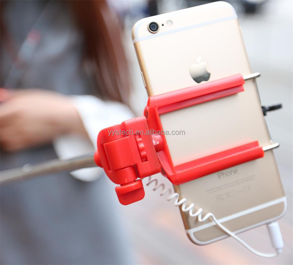 2015 new selfie stick with cord extendable monopod for iphone samsung. Black Bedroom Furniture Sets. Home Design Ideas