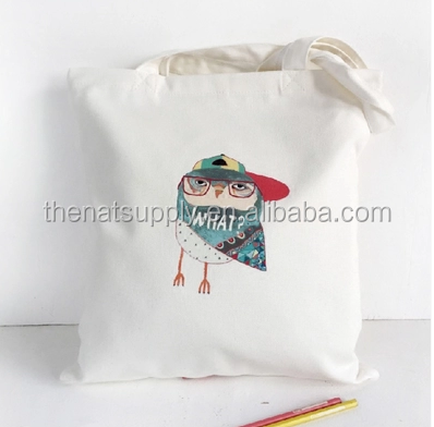 Double sided printing canvas tote bag single shoulder shopping bag .