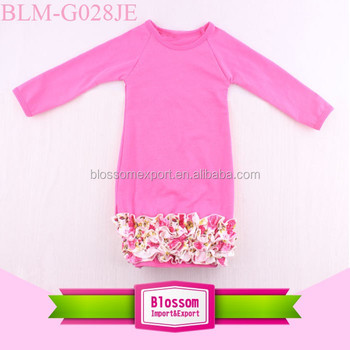 Pictures Of Latest Designs Baby Sleep Gown Plain Cotton Baby Floral Ruffle Bottom Gown Dress Fall Long Icing Ruffle Raglan Gown