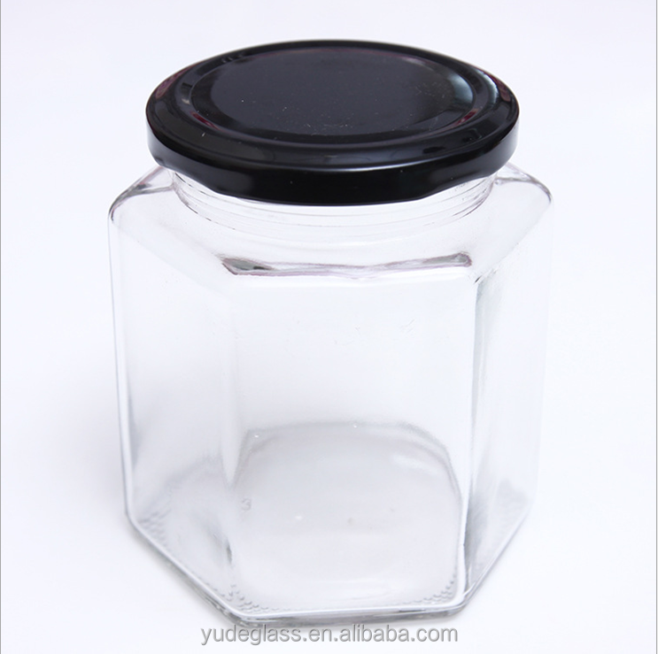 Wholesale hexagon glass jar for honey, honey bear jar with metal lid