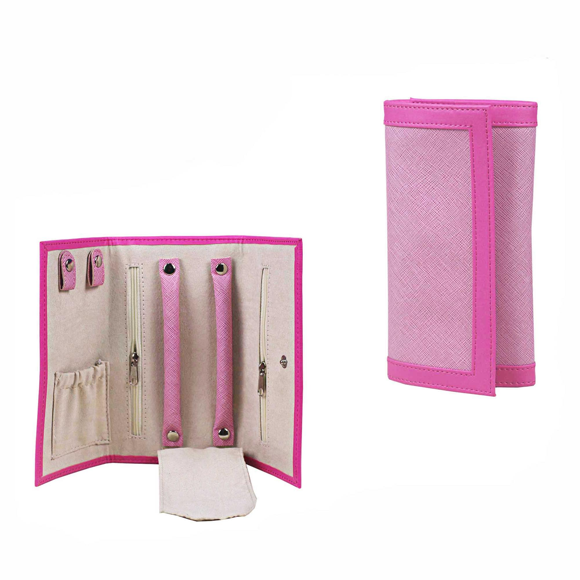 Wholesale handmade pink folding faux leather jewelry organizer roll jewellery travel roll bag