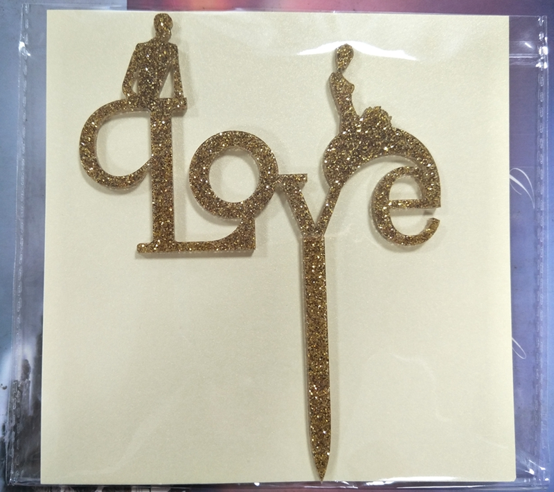 Bride to Be Acrylic Gold Glitter Cake Topper For Wedding
