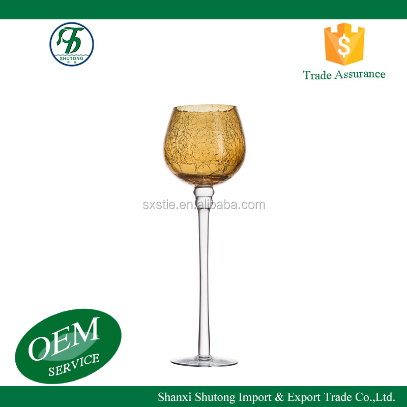 Wholesale long stemed brown wine glass shape decorative cut glass candle holder ornament