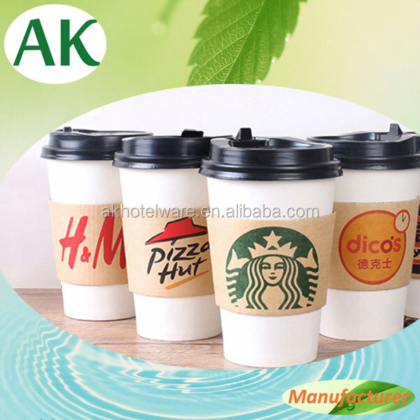 Facotry Price Custom Printing Disposable Paper Black Coffee Cup Sleeve/Paper Cup Fan