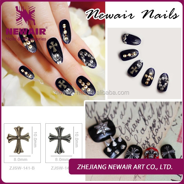 10*8mm Luxury Full Rhinestone nail art designs Jewelry Acrylic Strass Nail Sticker 3D Alloy Cross Decorations