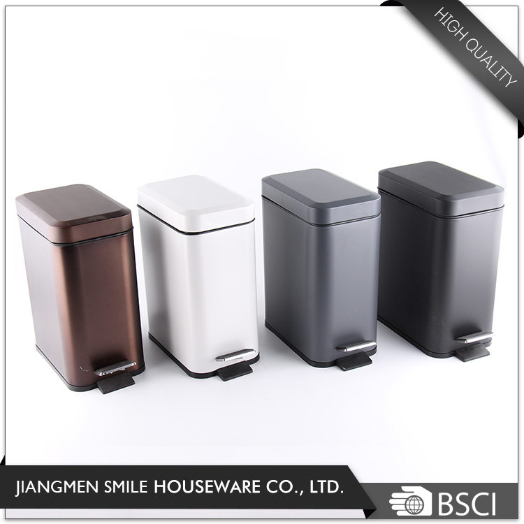 Wholesale square shape 5L chrome finish trash bin with PP inner bucket