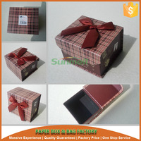 magnetic hinge lid cardboard candy gift box with bowknot