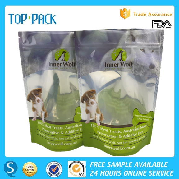 Green printed food use aluminum foil stand up zipper bag for pet food