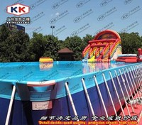 Hot selling commercial water park project , aqua steel pool with inflatable water slide for promotion