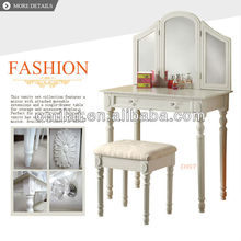 folding dressing table mirror with jewelry box wrought wood