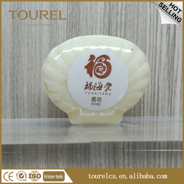 white round soap with cling film packaging