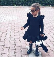 2018 Newest Winter Toddler <strong>Girl's</strong> Ruffle <strong>Dresses</strong> Cotton Long Sleeve Solid Color Baby Kids Fashion <strong>Dress</strong>