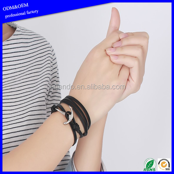 Fashion 316l stainless steel leather layered wrap bracelets for men genuine leather charm anchor bracelet