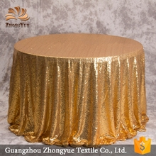 2017 Wholesale Glitter Polyester Gold wedding Sequin Round Tablecloth