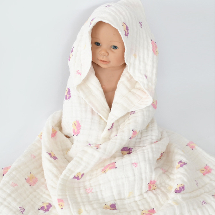 chinese supplier 6 layers gauze hooded baby towel