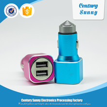New arrival safety hammer design multi usb car charger fast charge for mobile phone