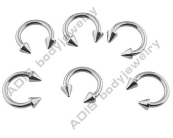 Circular Barbell Nose Rings with Cones, Body Jewelry