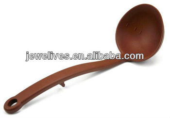 Brown silicone big soup spoon with hook